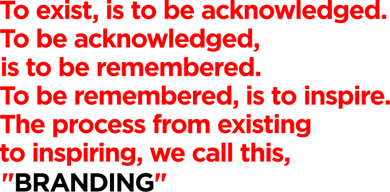 """To exist is to acknowledge.To acknowledge is to remember.To remember is to sense.The process from sensing to existing.We call this, """"BRANDING"""""""